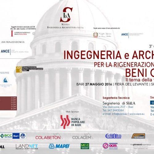 A Bari il terzo convegno nazionale su Ingegneria e Architettura per la Rigenerazione e la Tutela dei Beni Culturali